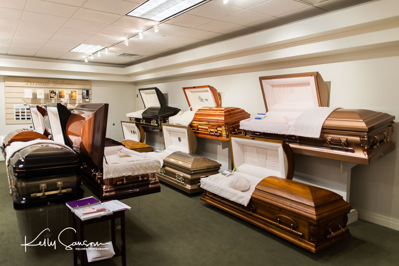 A casket showroom for Bountiful commercial photography.