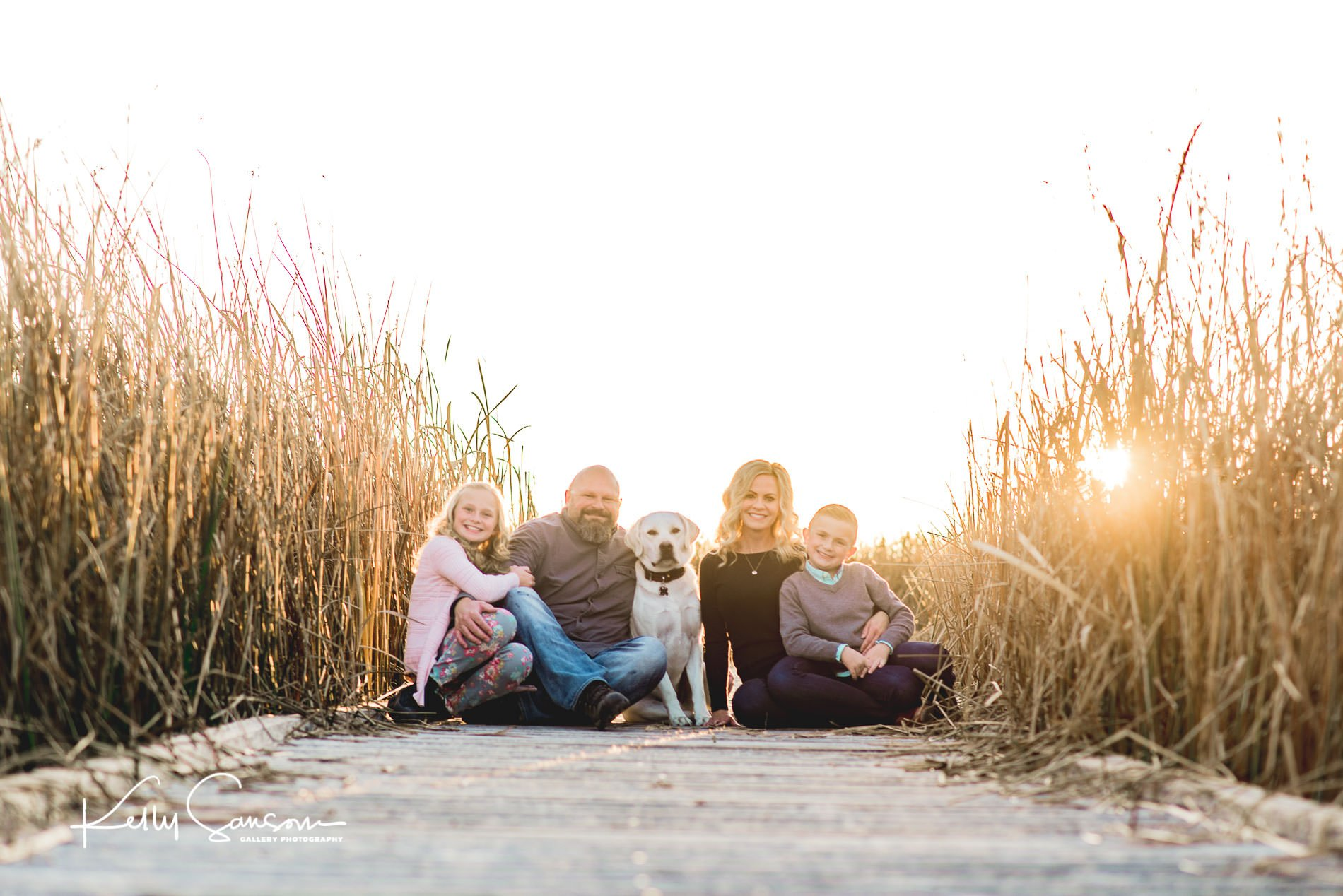 A family with a dog sitting on a board walk smiling at the camera for Ogden portrait photography.