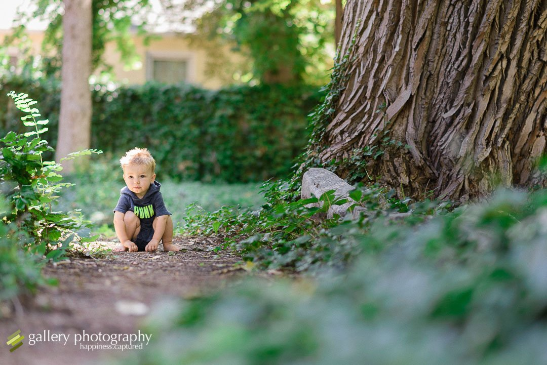 child kneeling looking at camera by large tree for children photography at Garden Park Ward.