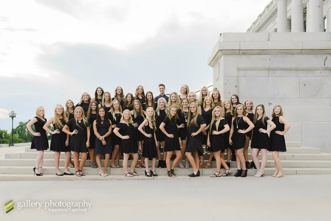 A group of dancers together on the steps for cheer photography photography at the Utah State Capitol.