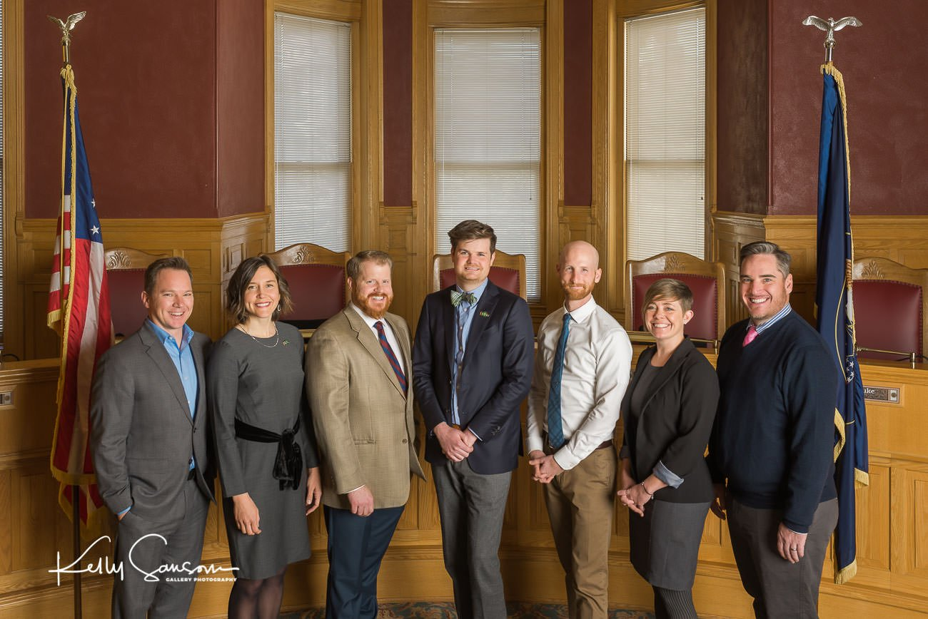 A portrait of the Salt Lake City Council in chambers for Salt Lake City commercial photography.