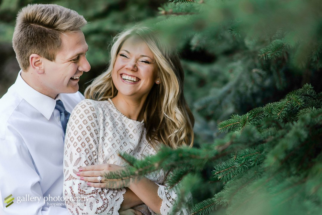 A couple laughing together in pine trees for Utah engagement photography.