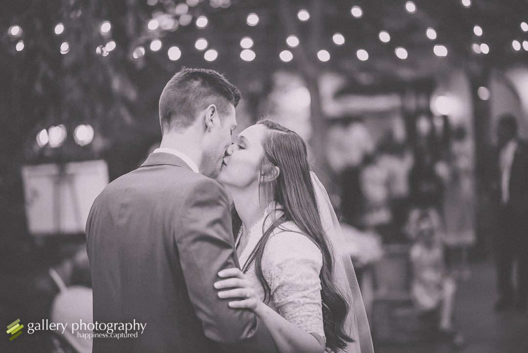 A couple having their first dance at Eldredge Manor for Bountiful wedding Photography.