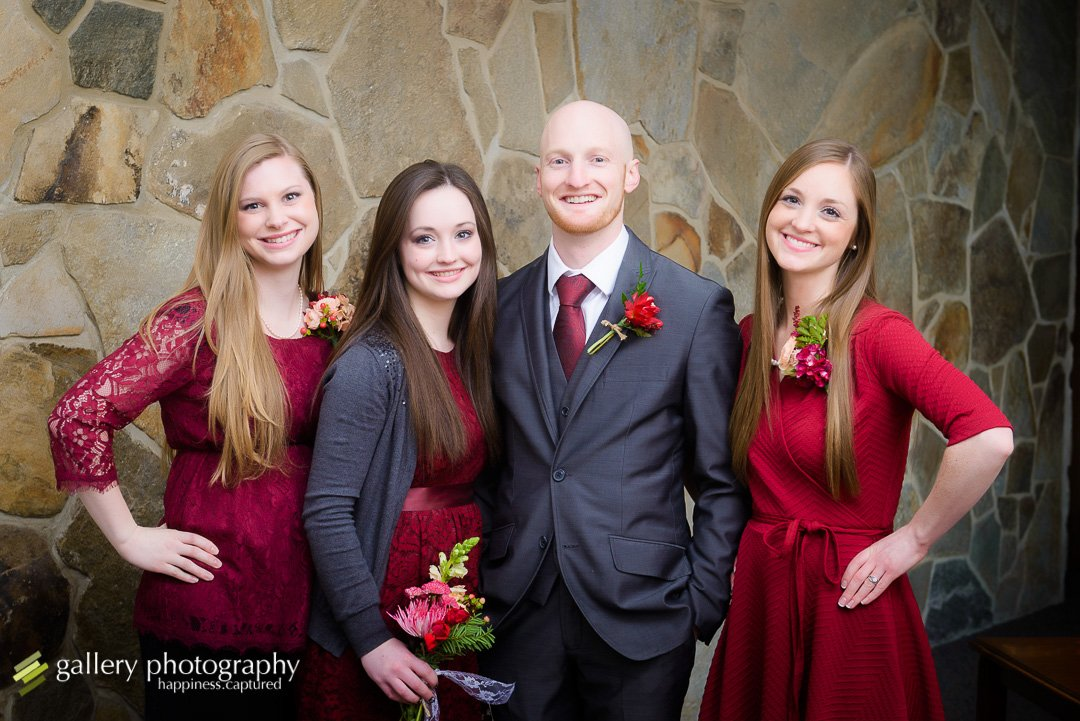 A groom and his sisters for Bountiful wedding Photography.
