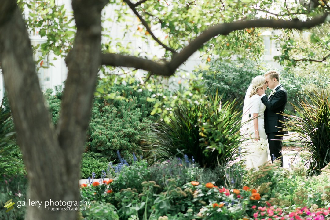 A couple kissing in front of a tree at the Bountiful LDS temple for Bountiful wedding Photography.