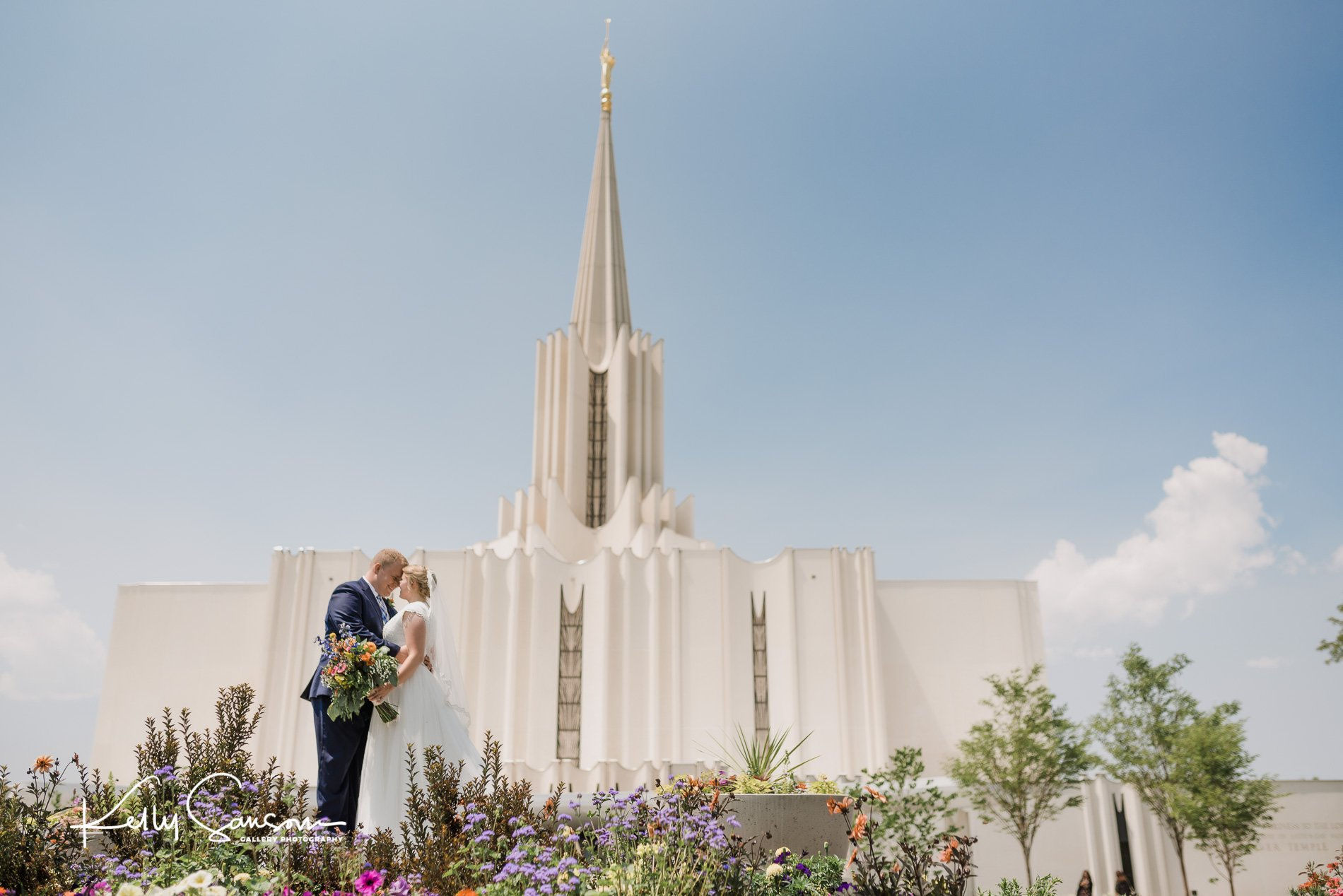 A bride and groom in love for Jordan river temple wedding photography.